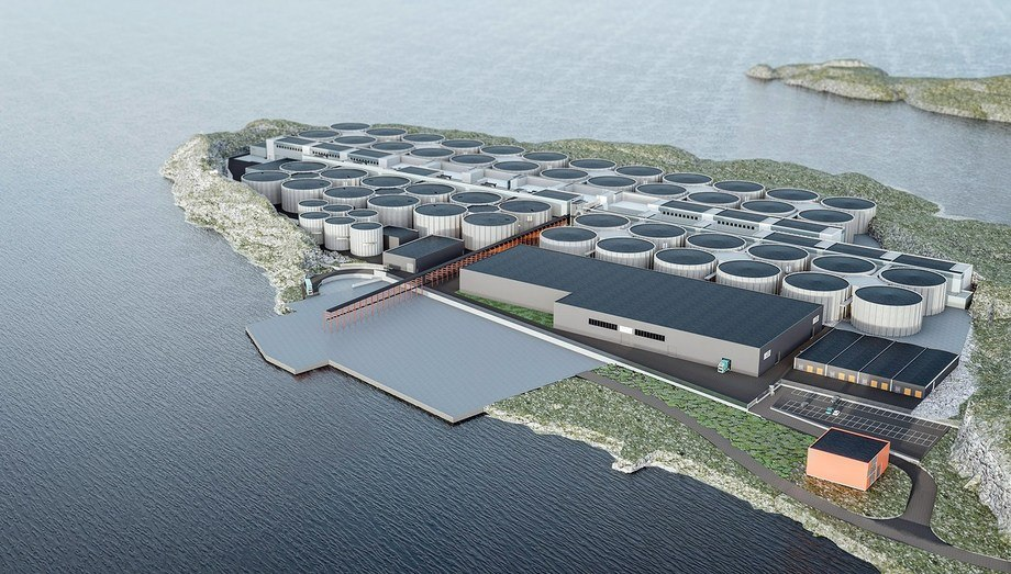 Salmon Evolution bygger et hybrid gjennomstrømmingsanlegg på Indre Harøy. Start av fiskeproduksjon er planlagt til mars 2022. Illustrasjon: Salmon Evolution
