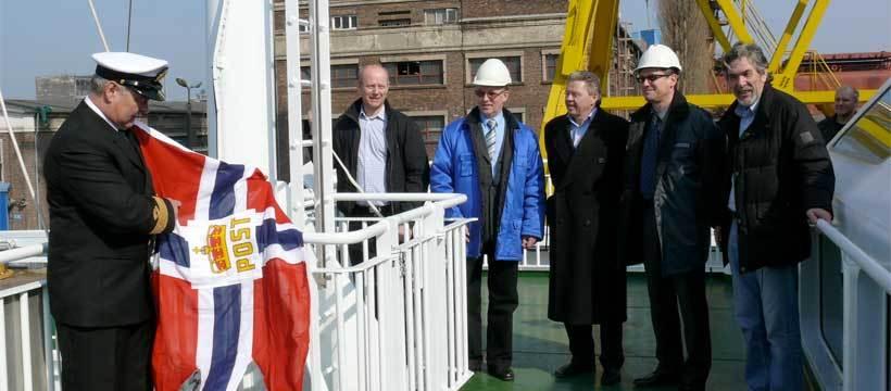 Fra venstre: Per Orset (ved flagget), Jøris Eik, Tadeus Tiotrowsky, Anker Grøvdal, Jan Paszkowsky og Jon Aage Rasmussen.