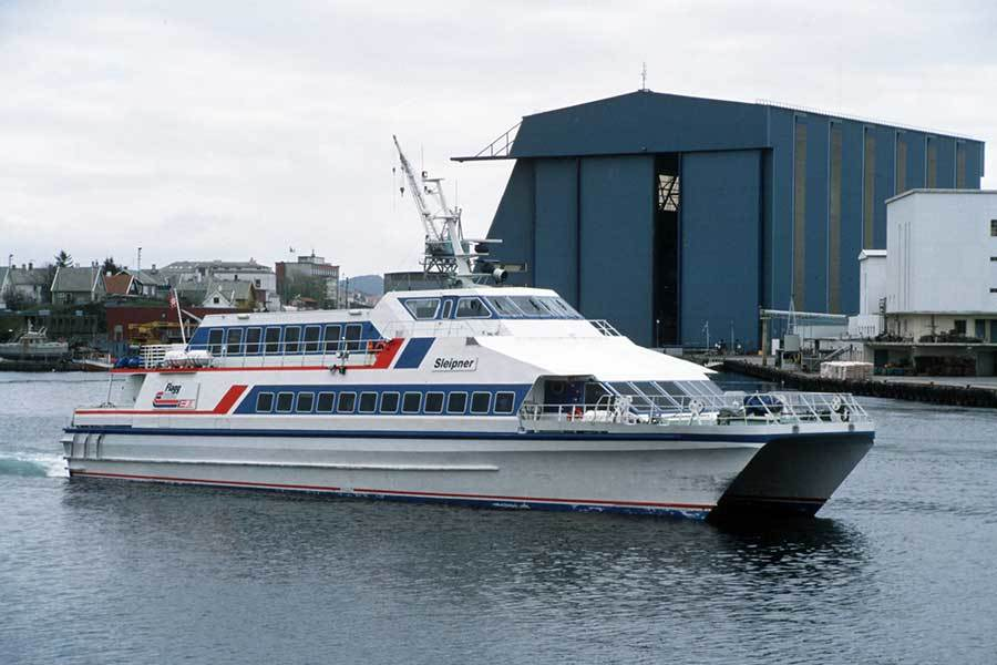 """""""Sleipner III"""" bygget ved Fjellstrand. Fartøyet var et betydelig løft i komforten på 1980-tallet."""