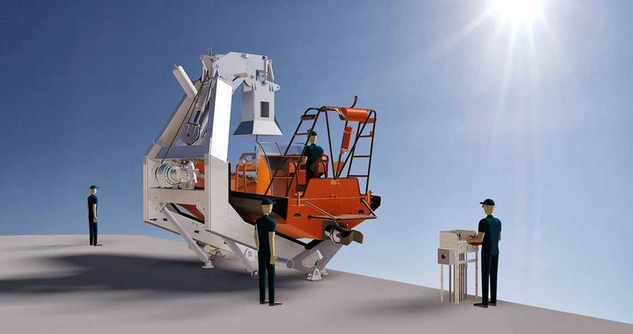 Vestdavit PAP6000 davit with the capability of launching and recovering RIBs up to 9.5 m long in sea state 6.