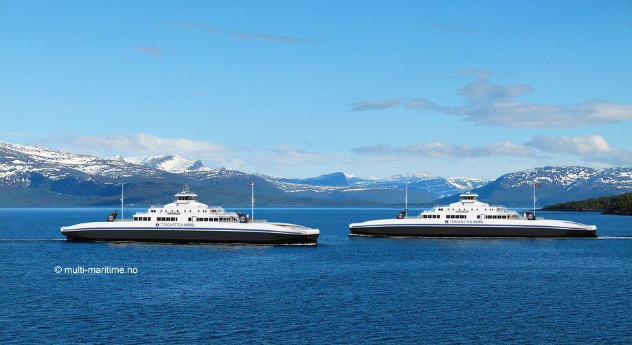 Fergesambandet Haljem-Sandvikvåg har hatt 341 kanselleringer i perioden 1. januar - 8. mai i år. Det gir en regularitet på 96,8%, ifølge samferdselsdepartementet. Illustrasjon: Multi Maritime