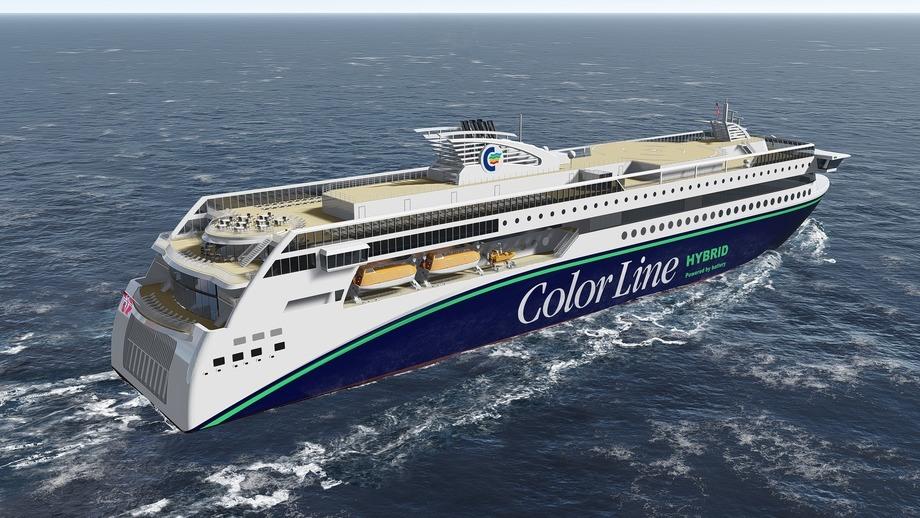Om en uke går jomfruturen for verdens største plugin hybrid skip. Ilustrasjon: Color Line