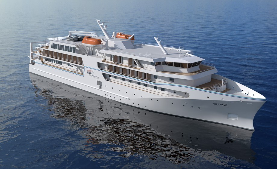 Vard har designet og skal bygge nytt ekspedisjonsskip for australske Coral Expedition. Illustrasjon: Vard