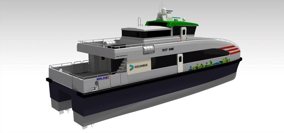 GS Marine skal bygge de to hurtigbåtene til Norled hvorav den ene blir hybrid mens den andre er tilrettelagt for hybriddrift. Illustrasjon: GS Marine
