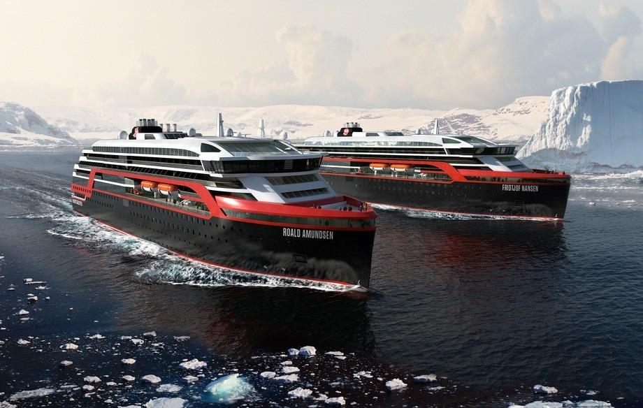«MS Roald Amundsen» og «MS Fridtjof Nansen». Foto: Hurtigruten