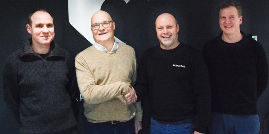 Kent Roger Wahlvåg (avdelingsleder for miljø i Åkerblå), Roger Sørensen (administrerende direktør i Åkerblå), Kai-Egil Skarsvåg (daglig leder i Skarsvåg Boats) og Espen Nordhammer (båtansvarlig i Åkerblå). Pressefoto