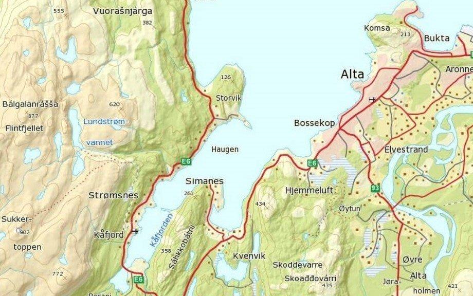 Kart av Kåfjorden i Alta