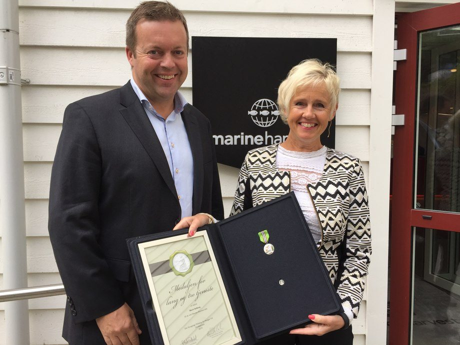 Marit Solberg pictured with Marine Harvest chief executive Alf-Helge Aarskog on a previous occasion. Photo: Marine Harvest