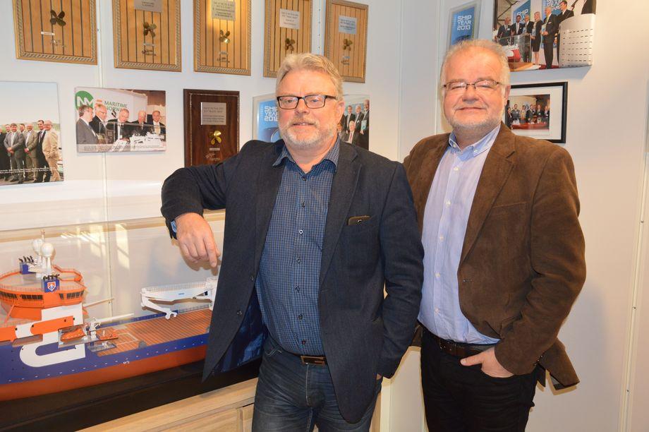 De to sjefene for Norsk Fiskeoppdrett og Skipsrevyen. Gustav Erik Blaalid t.v og Asle Strønen t.h.