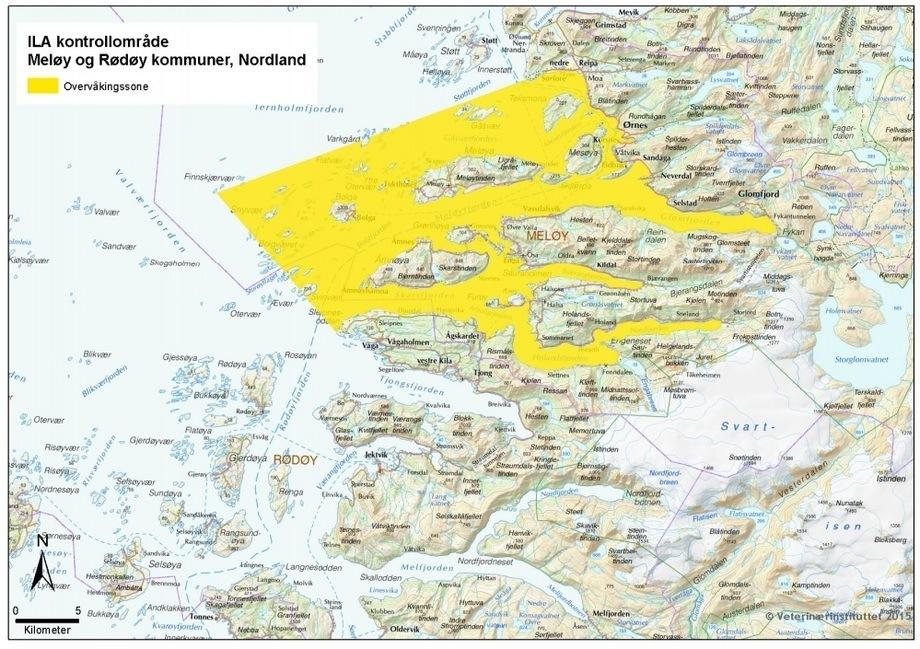 Kart over overvåkingssonen for ILA i Meløy og Rødøy kommuner, Nordland
