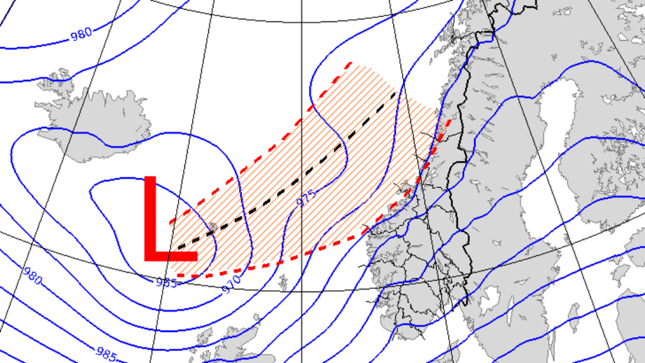 : Lavtrykket kan endra bane og da kommer den sterkeste vinden andre steder. Meteorologene oppdaterer varselet sitt jevnlig. FOTO: MET
