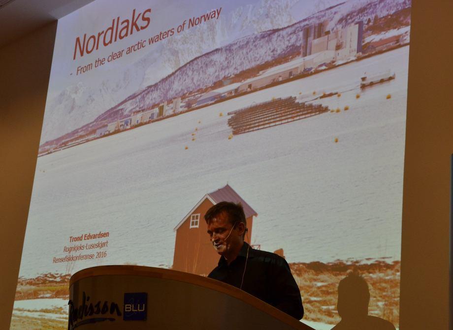 Trond Edvardsen fra Nordlaks under Rensefisk-konferansen 2016.