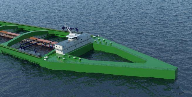 Nordlaks sitt konsept Havfarm blir 430 meter lang, og 54 meter bred. Illustrasjon: NSK Ship design.