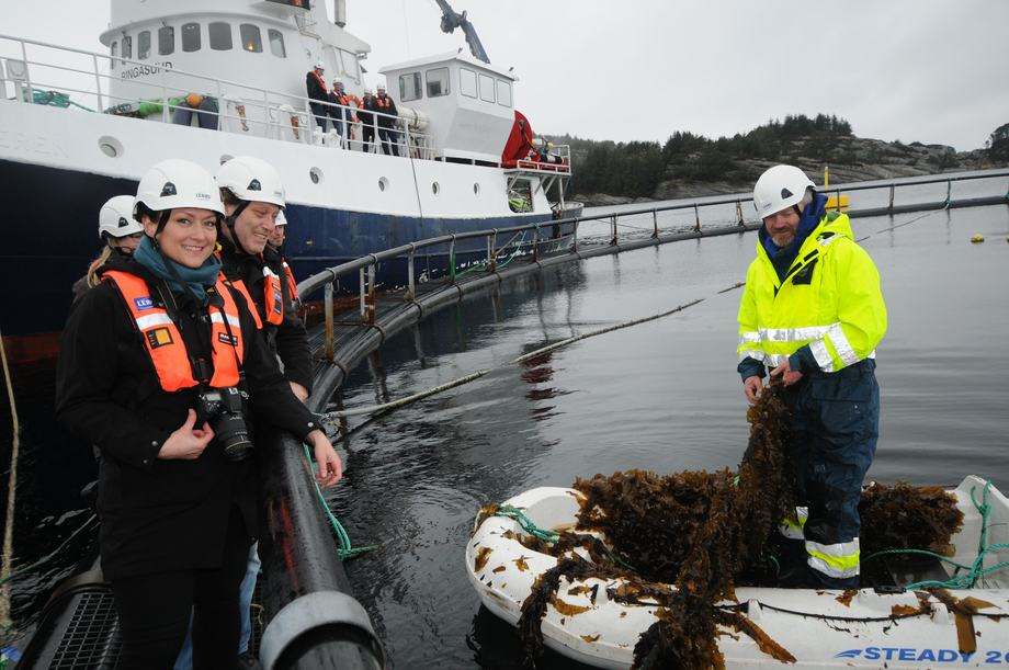 Oppdrettsansvarlig i Bellona Solveig van Nes sammen med Fredric Hauge er svært fornøyd med resultatene så langt i samarbeidsprosjektet med Lerøy, Ocean Forest hvor de ser nærmere på IMTA. Foto: Pål Mugaas Jensen.
