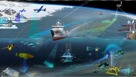 Illustrasjonen viser ulike typer marin observasjonsmetodikk. Når utstyret ikke er i bruk eller trenger vedlikehold, vil det være å finne i Norsk havlaboratorium. Illustrasjon: Glynn Gorick.