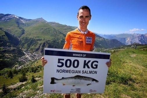 Proffsyklisten Jean-Marc Bideau vant 500 kilo laks . Foto Norges sjømatråd
