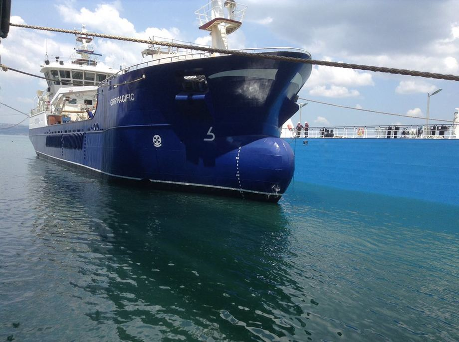 Grip Pacific opererer i Chile, der den er chartret av Cermaq. Foto: Grip Ship AS