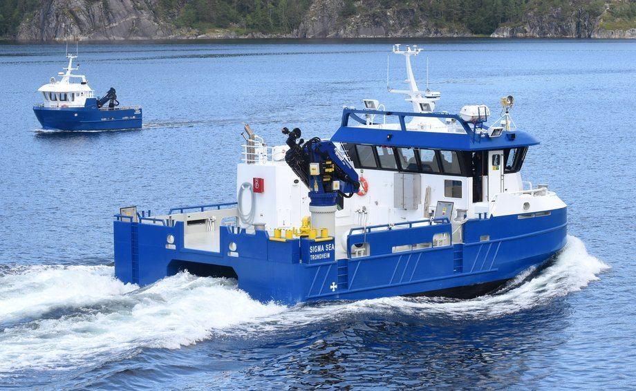 SIGMA SEA er den fjerde servicebåten som Moen Marin AS har levert til AquaGen. Romslige og moderne fasiliteter gjør fartøyet til en god og trygg arbeidsplass for mannskapet. Foto: Tom Lysø