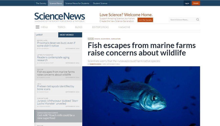 Faksimile av oppslaget i Sciencenews.com