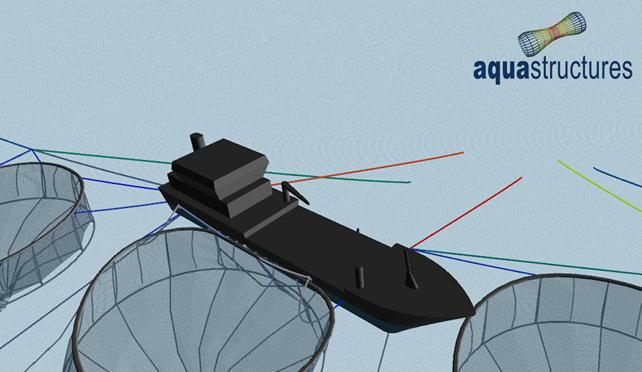 Figuren viser en AquaSim analyse av en brønnbåtoperasjon på et anlegg. Illustrasjon: Aquastructures