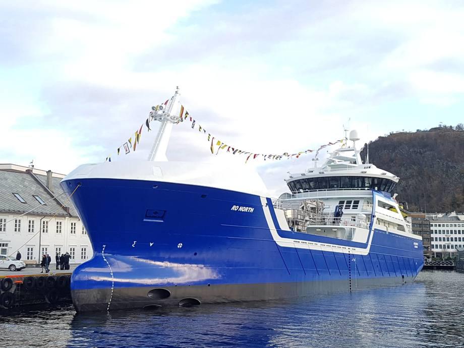 Rostein AS døpte nybygget «Ro North» i Ålesund lørdag 12. november. Foto: Rostein
