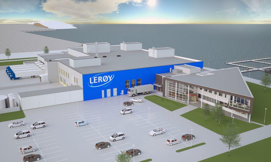 ABB leverer automatiseringsløsninger til Lerøys nye fiskeslakteri og foredlingsanlegg på Hitra. Illustrasjon: Lerøy Midt.