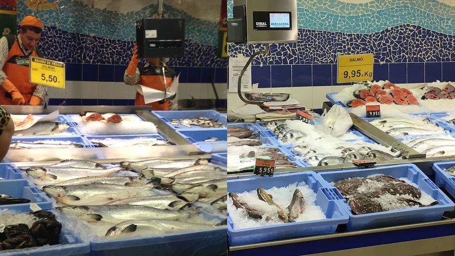 Mercadona-kjeden har 37 prosent markedsandel for laks i Spania. Bildene viser at laksens plass i fiskedisken er redusert i et av deres supermarkeder. Mens laksen ble solgt for 5,50 Euro i 2014 var prisen 9,95 Euro i 2016. Foto:Norges Sjømatråd.