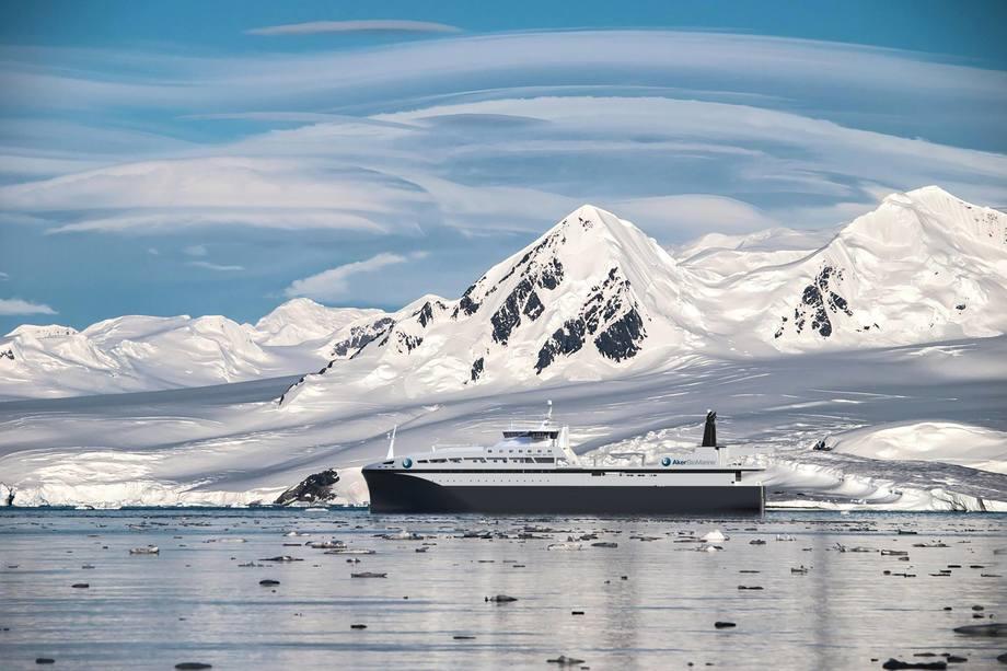 Det nye krillfartøyet er på 130 meter og skal utstyres med det siste og beste innen miljøvennlig teknologi. Illustrasjon: AkerBiomarine.