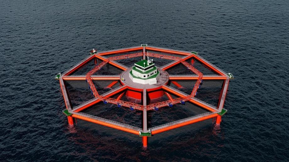 Neste teknologisprang for SalMars havsatsing er Smart Fish Farm, som planlegges etablert i åpent hav i Midt-Norge. Illustrasjon: Salmar