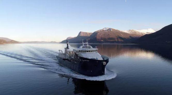 Brønnbåten Ronja Ocean vart levert frå Myklebust Verft nylig. Foto: Uavpic.com.