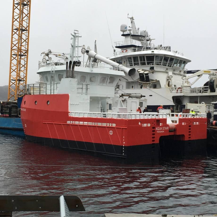 Aqua Star skal leveres i slutten av mai til Aqua Seawork. Foto: Fitjar Mek. Verksted