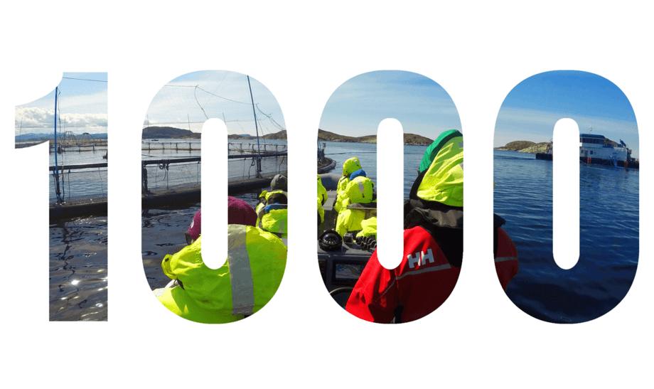 Bjørøya visningssenter har satt ny rekord der over 1000 besøkende har vært ute på merdkanten og fått ett innblikk i hvordan norsk lakseoppdrett foregår. Foto: Bjørøya.