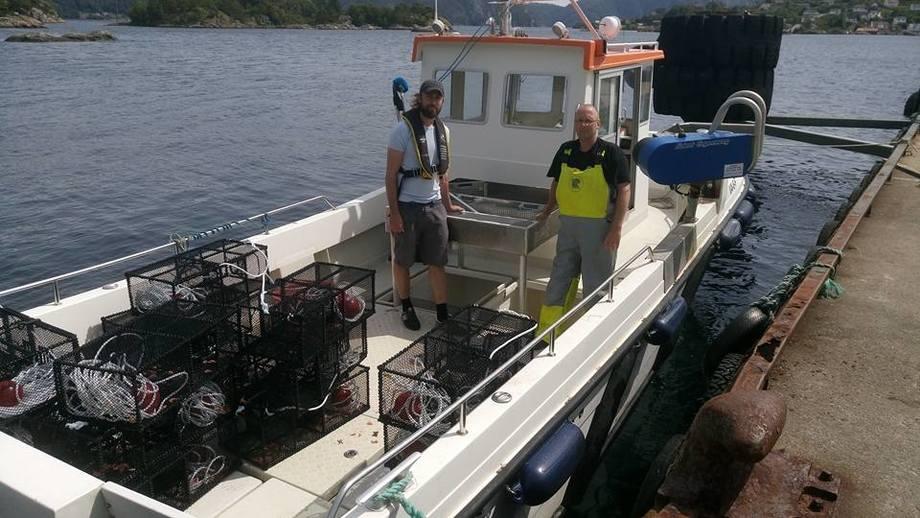 Kim Halvorsen fra Havforskningsintitutttet kartla denne uken gytingen til leppefisken sammen med Johan Lindhom i Fjordservice AS. Foto: Fjordservice.