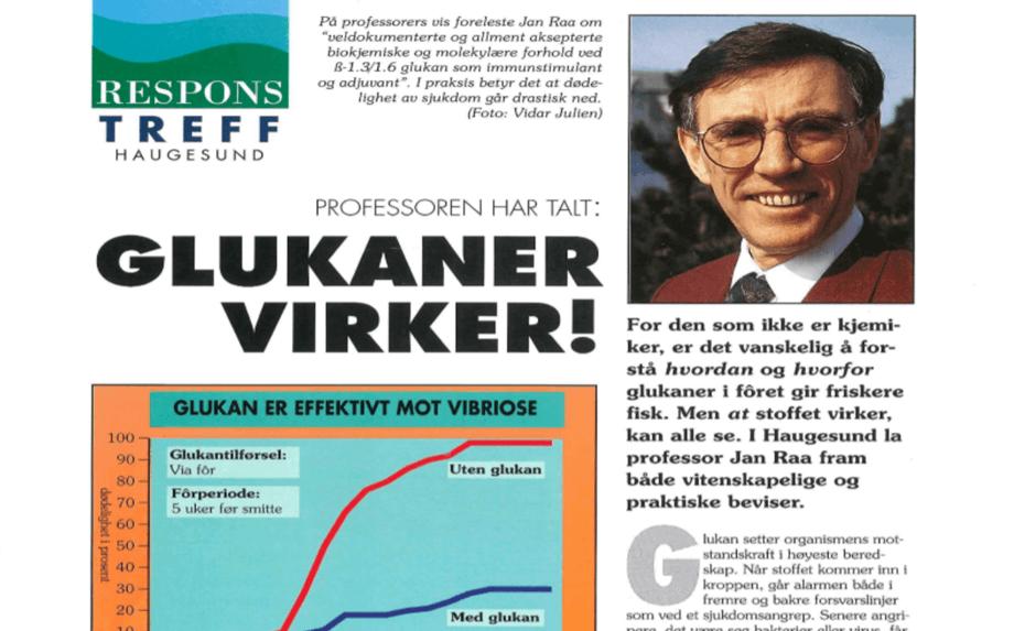 I 1992 lanserte Sketting det første helsefôret med glukaner for å bedre Fiskehelse.  Foto: Faksimile fra Mærkanten i 1992.