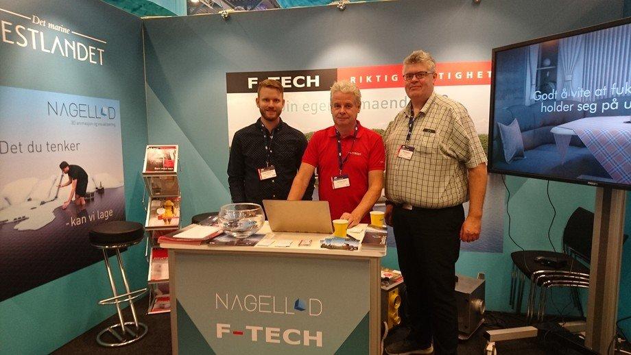 NagellD og F-Tech på delt stand under Aqua Nor. Helge Bjordal (til høyre), styremedlem i NagellD. Bilde: Katarina Berthelsen