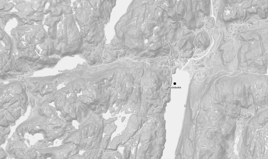 Lokalitet Rutlebekk i Sirdalsvannet. Kart: Barentswatch.