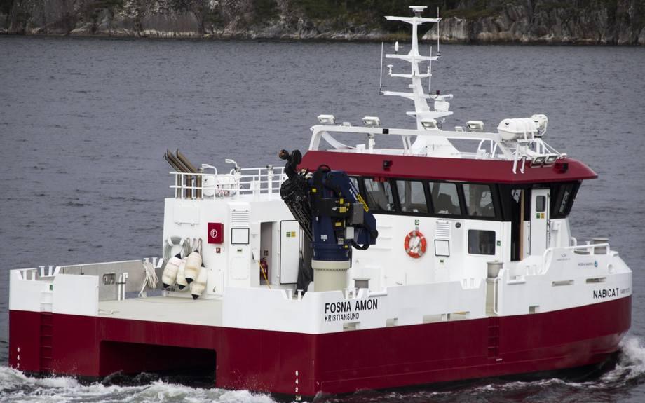 Nybygget Fosna Amon leies av Abyss Aqua AS gjennom Moen Ship Management AS. Foto: Moen Marin AS