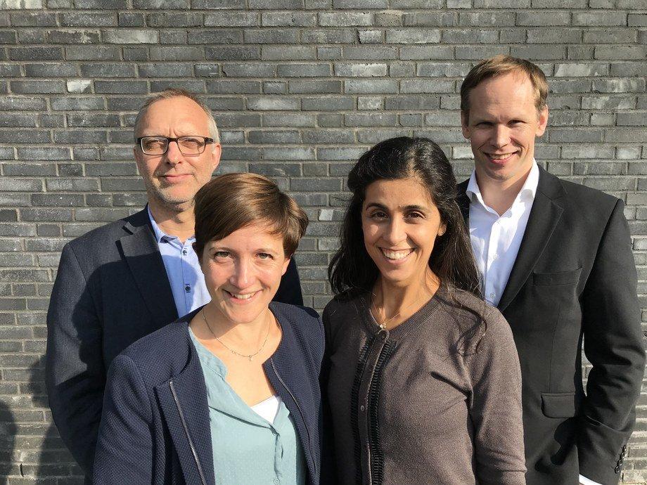 Jan Gaare, Flavie Gohin, Emek Sayrek og Morten Kompen står bak Fishency Innovation. Foto: Fishency Innovation.