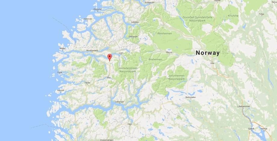 Utvikfjellet ligger i Sunnfjord i Sogn og Fjordane. Kart: Google maps.