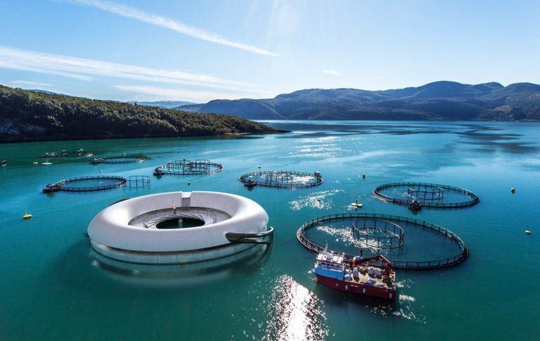 Illustrasjon av betongkonstruksjonen. Dronefoto Baard Selfors.  Kilde: Salten Aqua.