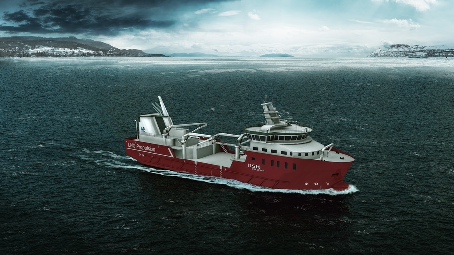 Verdens første LNG Hybrid brønnbåt bestilt av Nordlaks. Foto: NSK Ship Design - LNG Hybrid Brønnbåt
