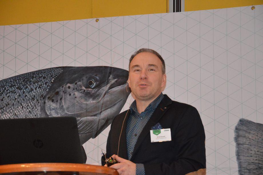 Erik Osland, daglig leder i Osland Havbruk., under Solstrandkonferansen 2018. Foto: Katarina Berthelsen.