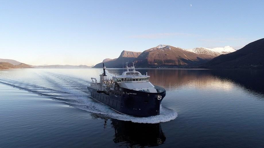 M/S «Ronja Ocean» på sjøprøver. Foto: uavpic.com