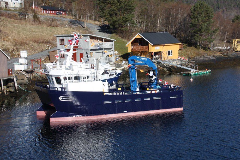 Sletta Verft har levert en serie på fire arbeidskatamaraner til Lerøy Aurora. Foto: Sletta Verft