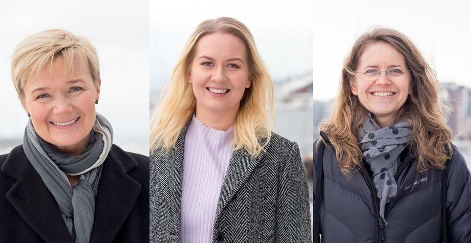 Finalistene til årets Female Entrepreneur f.v.: Grete Sønsteby i N2 Applied, Karoline Sjødal Olsen i Blue Lice, og Marit Linnebo Olderheim i Leap Learning. Foto: Charlotte Wiig.