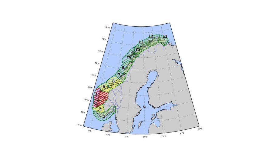 Slik blir trafikklysfargene i de ulike kyst-sonene første runde. Foto: Nærings- og Fiskeridepartementet.