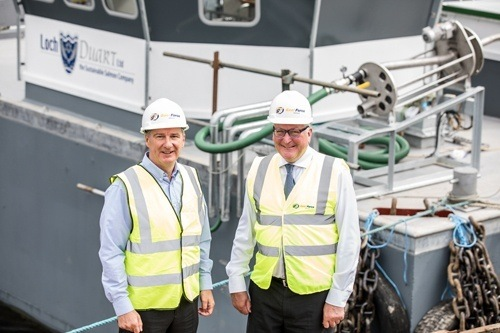 Fergus Ewing, pictured right with Gael Force Group owner Stewart Graham, says Brexit places EMFF support in jeopardy. Photo: Paul Campbell/HIE