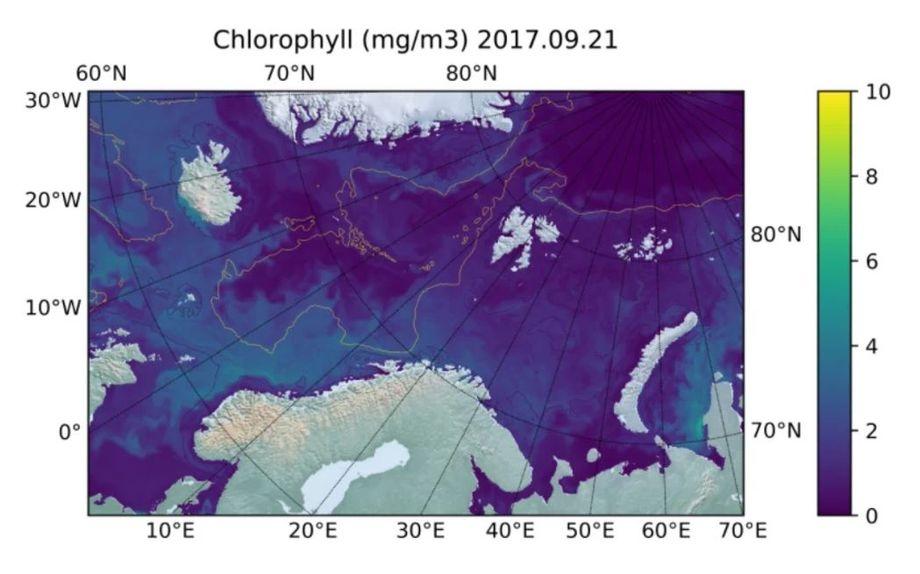 Concentración de clorofila estimada en las costad de noruega. Fuente: Sintef ocean.
