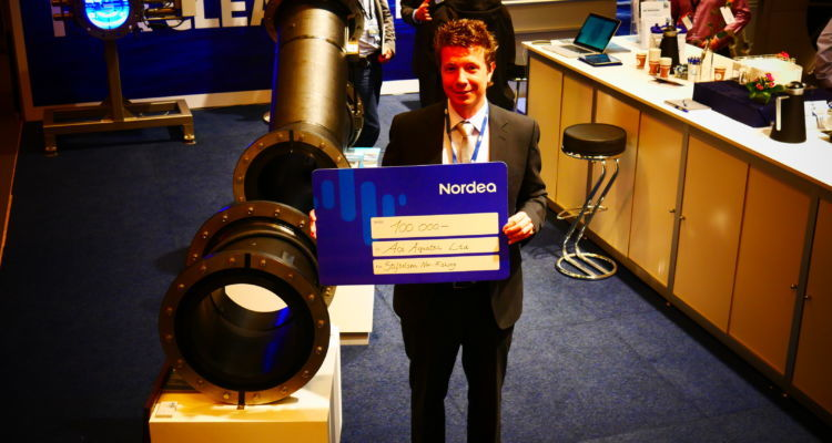 Nathan Pyne-Carter now has a Queen's Award to add to the NOK100,000 Innovation Award Ace Aquatec won at Aqua Nor. Photo: FFE