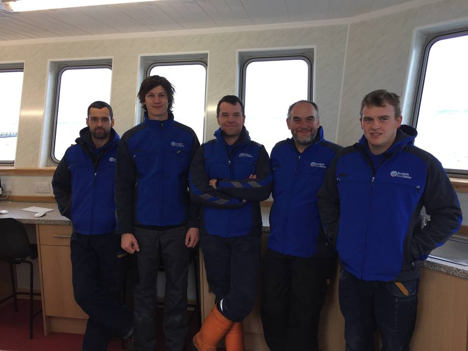Westerbister team Joe Williamson, Benjamin Weis, Ross Stevenson, Mark Rosie and Billy Brown. Image: Scottish Sea Farms.